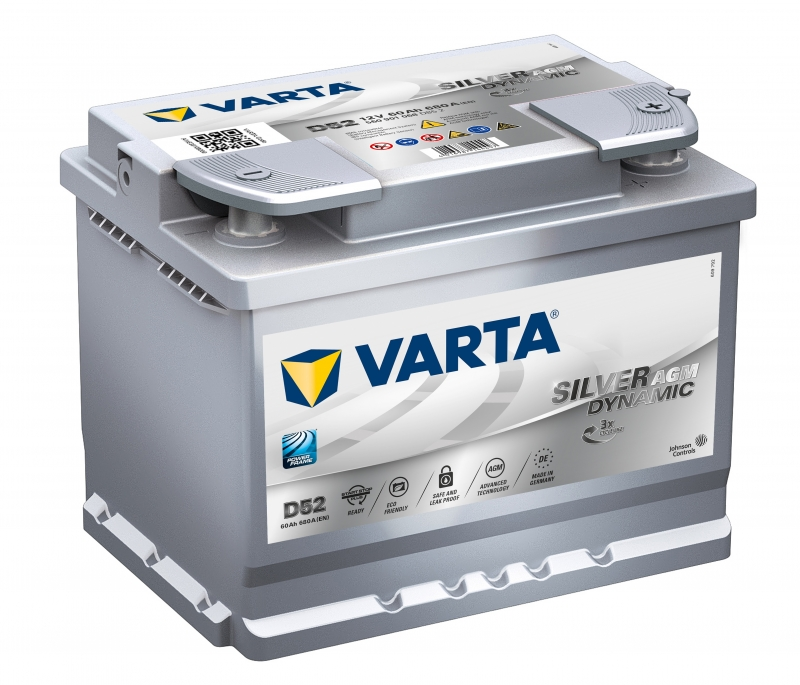 Аккумулятор Varta D52 Start-Stop Plus AGM 60 А/ч, о/п, 680А